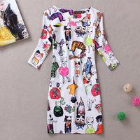 Promotion 2014 spring summer cute cartoon print dress trend causual embellished women work wear dress
