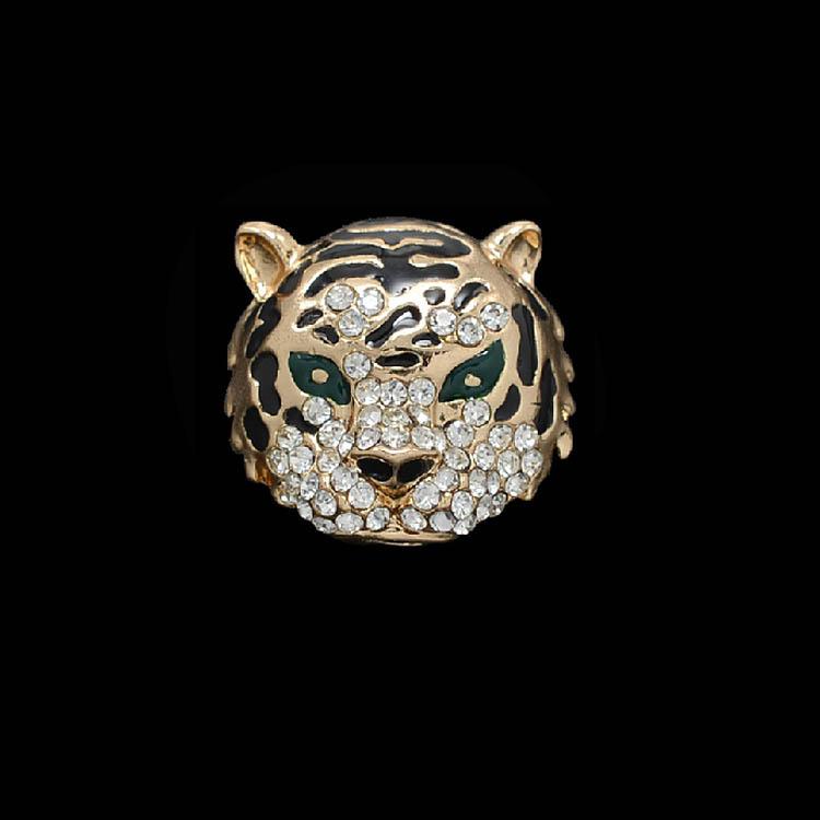 2 colors Vintage Gold / Silver rhinestone Crystal Tiger Collar Brooch Pins Fashion Jewelry(China (Mainland))