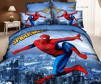 2014 new home textile red spider-man print comforter cover set cotton queen full bedding 4pc childrens duvet cover set bedlinen