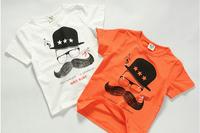 2014 summer new arrival fashion wholesale 5pcs/lot 100% Cotton top tee cartoon mustachio pattern children boy t shirts