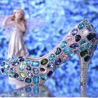 women pumps 2014 NEW ARRIVAL blue rhinestone high heels blue crystal high heel bridal wedding shoes pump