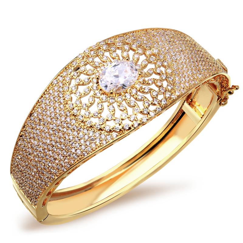Wedding Jewelry Luxury elegant bracelet AAA Cubic Zirconia bangles Prong Setting Propose Marriage Present