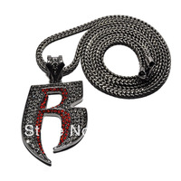 """New Iced Out Bling 'R' Pendant with 36"""" Franco Chain Hip Hop Necklace"""