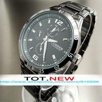2014 NEW CURREN Wristwatches MEN'S BRAND BUSINESS WRIST WATCH BLACK FULL STAINLESS STEEL SPORTS QUARTZ WATCHES FREE SHIPPING