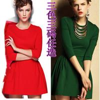 2014 fashion slim highwaist three quarter sleeve one-piece dress sweet princess dress female