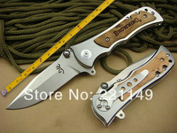 High Quality! BROWNING 339 Hunting Folding Knives,440C Blade Maple wood Handle Sanding Camping Rescue Knife.