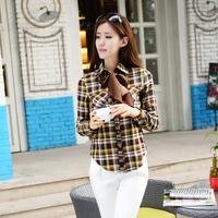 Spring plaid shirt female fashionable long-sleeve casual slim women's scarf wfwj705