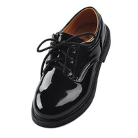 Square toe leather male child black shoes child single shoes glossy flower children shoes formal dress shoes