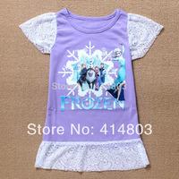 Ready to ship! 2014 new best-seller FROZEN family Short sleeve lace dress nighties/95-140cm (3 colors Pink/Blue/Purple) 6pcs/lot