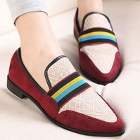 New 2014 Brand Simple British Style Women Flat Shoe Pointed Flock comfort Female Summer Shoes 2 Colors Us Size4-8 MYA663-72