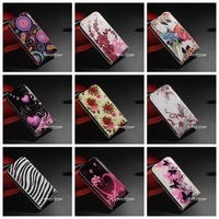 New arrival Cute Flower Butterfly Stand Flip Leather Pouch Hard Case Cover For Samsung Galaxy S4 mini i9190 Free Ship One PIece