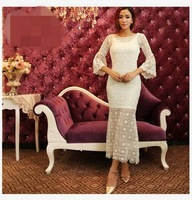 Free shipping in the spring of 2014 Lace high-waisted dresses long-sleeved mermaid women's PROM dress