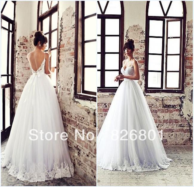 Vestido De Noiva 2014 New Sexy Backless Ball Gown Wedding Dresses Tulle Wedding Dress 2014