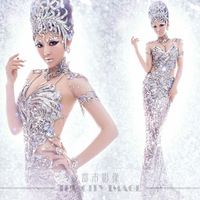 Star hollow out long gowns  Theme wedding 2014 paillette slim hip costume luxury Free shipping delivery