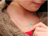Free shipping Fashion jewelry Abstract cat of the pendant necklace pin/ blue/creamy white colors
