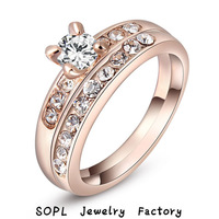 ROXI Jewelry Exquisite best quality  Classic Genuine Austrian Crystals Sample Sales Rose Gold Plated Owl Ring Jewelry for Party