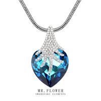 trendy 2014 fashion fine jewelry heart austrian crystal pendant necklace for women