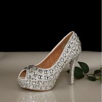 plus big size wedding shoes women pumps peep toe silver rhinestone wedding high heeled shoes peep toe crystal wedding shoes pump