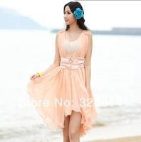 2014 summer new two-piece women's dress sub summer beach dress chiffon dress Korean version of the sub-8088
