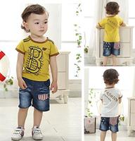 children's fashion 2014 baby & kids denim clothing set summer.brand letter short tshirt and short pants kids clothes sets lot