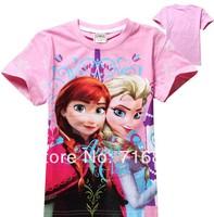 Wholesale Frozen Kids T-Shirt 2014 Baby Girls Anna Elsa Princess Cartoon Short Sleeve Cotton T Shirt Top Summer Clothes 3-8Y805