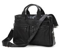 Factory Directly 100% Genuine Leather shoulder Vintage Men's Black men Messenger Bags Laptop men's Briefcase men travel bag 7122
