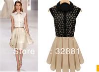 2014 summer new women chiffon dress sleeveless organza dress lapel stitching dresses