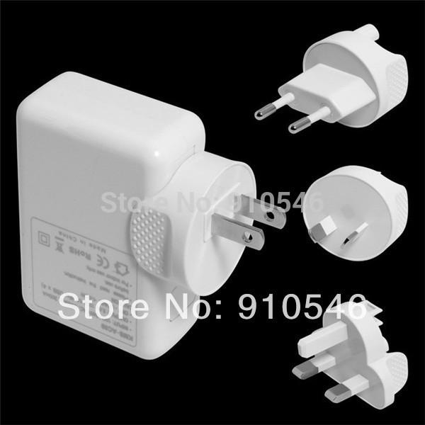 4 Port USB AC power Adapter US EU UK AU Plug Wall travel charger for iPhone 4 4S iPad 2 3 mp3 mp4 GPS Free Shipping wholesale(China (Mainland))