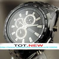 2014 Best Mens Automatic Watch Black Stainless Steel Quartz Watches Men Military Quartz Watch Wristwatches  Free Shipping