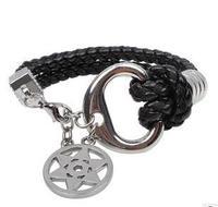 Q3739   Mens Titanium Bracelet Star of David jewelry retro personality type  B6
