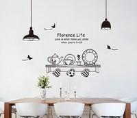 Free shipping!! JM7192 wall stickers kitchen family wall sticker decorative 60*90cm