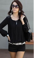 Lace shirt female long-sleeve 2014 spring women's slim shirt chiffon shirt top basic shirt women blouse size s-xxxl