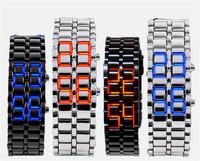 1pcs 2014 New Fashion Lava Iron Metal LED Faceless Bracelet Watch  Stainless Steel Wristwatch J2085