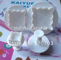 2014 New arrived,Freeshipping 4PCS/Set Flower Shape Food Grade Plastic Spring Cake Tool Bakeware Decorating