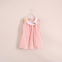 2014 Peppa Kidsdress Wholesale Girls Summer Models Tricolor Vertical Stripes Qunshan Children's Clothing 6pcs/lot 23e041629