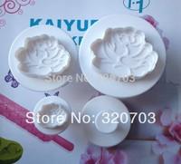 2014 New arrived,Freeshipping 4PCS/Set Water Lily LotusFlower Shape Food Grade Plastic Spring Cake Tool Bakeware Decorating