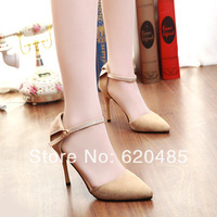 Free shipping 2014 spring  british style princess high-heeled sandals small pointed toe women's thin heels single shoes