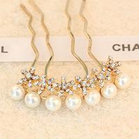 Fashion hair accessory gentlewomen pearl rhinestone small flower hair maker insert comb female Hair Jewelry