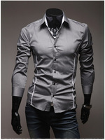 Men's Casual Slim Long Sleeved Personalized Trim Shirts, Gray, Black, White ,ST220