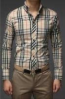 2014 Spring Korea Style Plaid Shirt Long Sleeve men Shirts Long Sleeve Brand Luxury ,ST1337