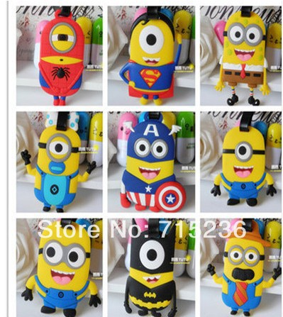 Wholesale 2014 New Fashion Bag Parts & Accessories Despicable Me Minions Style Luggage Tag Name Tag 100Pcs/Lot Free Shipping(China (Mainland))