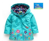 2014 Topolino spring/autumn Girl Hoodies flower windbreaker jacket export high quality Windcheater kids outerwear coat Trench