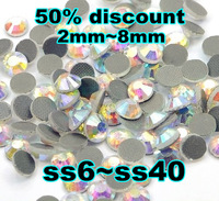 50% Discount Wholesale 10Bags/Lot CRYSTAL AB Color DMC Hot Fix Rhinestone Flat Back Size SS6 SS10 SS16 SS20 S30 SS34 SS40