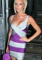 2014 Sale Empire Sheath New Fashion Women's Sexy Bodycon Bandage V-neck Sleeveless Striped Celebrity Victoria Beckham Mini Dress