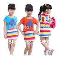 New 2014 Summer Baby & Kids Casual Sports Clothing Set 100% Cotton Girls Rainbow Stripe Vest Dress + Cartoon T-Shirt 2PCS Set_10