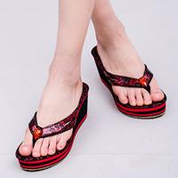 Summer female slip-resistant beach flip platform wedges platform flip flops sandals slippers