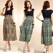 2014 Hot Sell Vintage Women Casual Bohemia Summer Mid Calf Floral Sundress Beach Long Dress