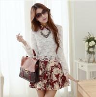 2014 spring women's lace chiffon embroidery flower slim plus size female summer long-sleeve dress