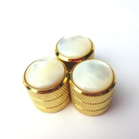 3 pcs Steel White Shell Stripes Gold Electric Guitar bass Dome Speed Control Tone Volume Knob