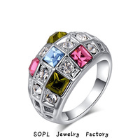 ROXI Jewelry  best quality Delicate Colorful Crystal Zircon Man-made Fashion Platinum Plated Ring for Party to Girlfriend Gift
